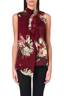 ERDEM Draped silk botanical-print top