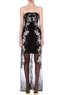 ERDEM Contrast-collar floral appliqué dress