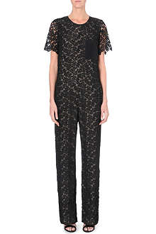 ERDEM Lace and silk-panel jumpsuit