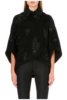 ERDEM Rubina embroidered wool-blend cocoon coat