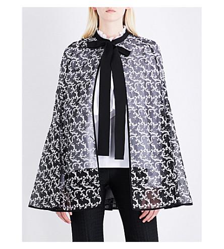 ERDEM Floral-embroidered silk-organza cape (Black