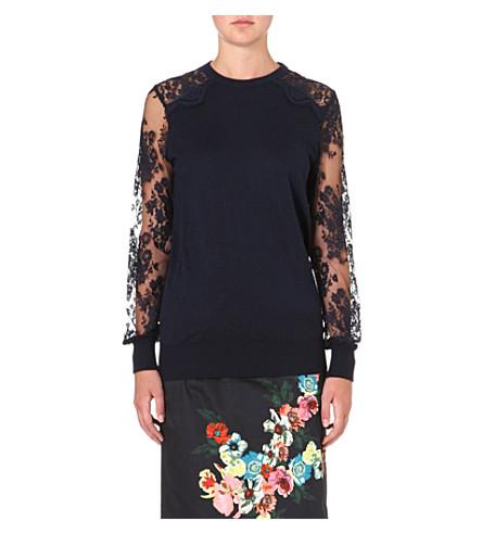 ERDEM Cilla lace-panel jumper (Mignight