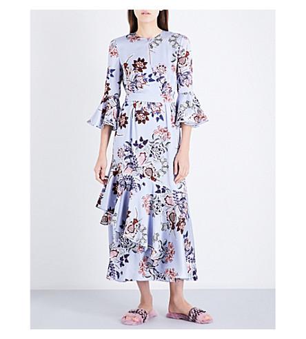 ERDEM Florence floral silk dress (Blue/pink