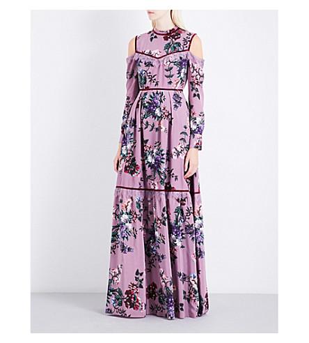 ERDEM Sabine cold-shoulder silk-crepe gown (Violet/multi