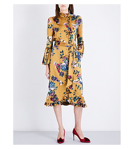 ERDEM Siren floral silk dress (Gold+multi