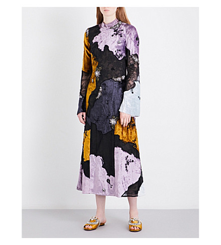ERDEM Chapell velvet and lace midi dress (Black+/+multi