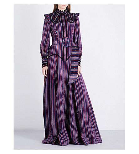 ERDEM Idonia striped cotton-poplin gown (Burgundy+navy