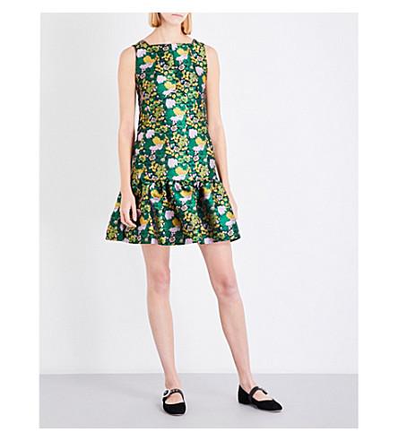 ERDEM Nolla jacquard mini dress (Green+/+black+/+yellow