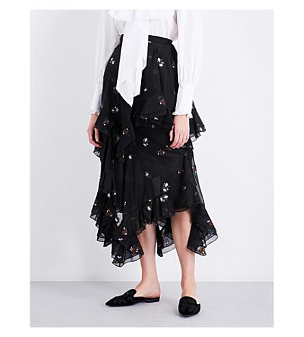 ERDEM Elsa asymmetric-hem cotton-blend skirt (Black