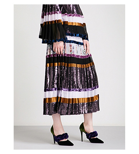 ERDEM Nerriccia sequin and silk skirt (Multi