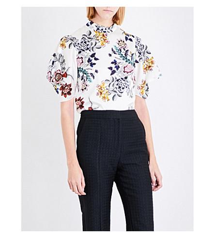ERDEM Omara silk-satin blouse (White+/+multi