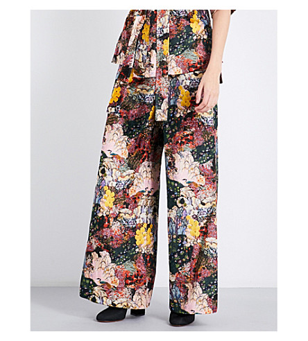 ERDEM Birte wide-leg velvet trousers (Pink/multi