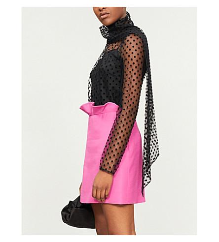 ERDEM Yvonna polka dot-pattern mesh top (Black