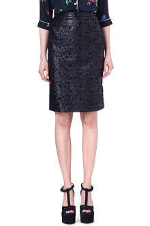 ERDEM Aysha faux-leather skirt