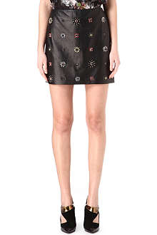 ERDEM Leather and wool beaded skirt