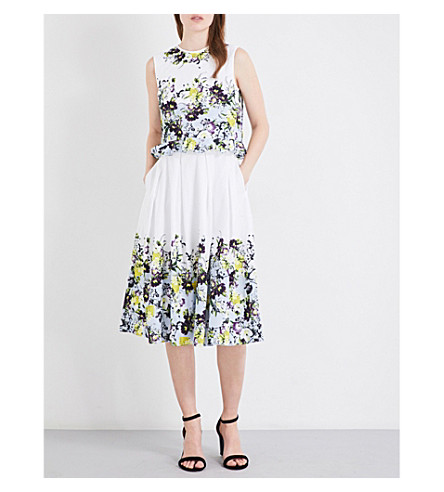 ERDEM Lenten Field-print cotton-poplin midi dress (Lemon+yellow/pale+blue