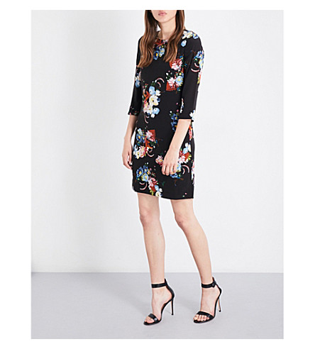 ERDEM Emma floral silk-crepe shift dress (Black/multi