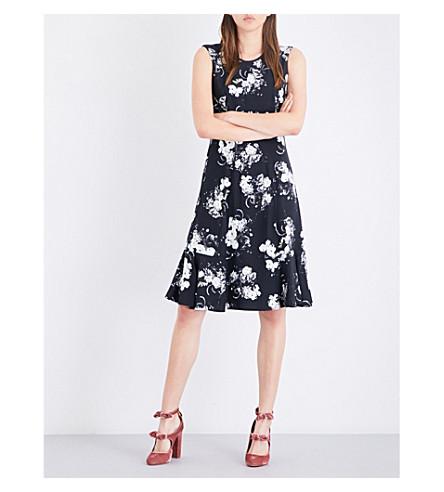 ERDEM Floral-print flared-hem crepe dress (Black/ecru