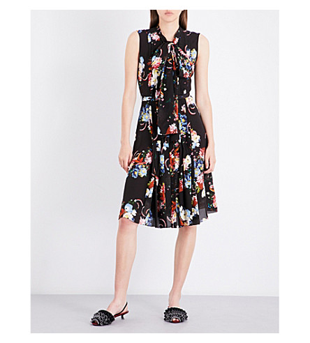 ERDEM Rose Bouquet-print pleated silk dress (Black/multi
