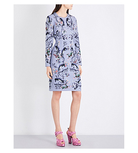 ERDEM Evita matelassé dress (Blue/pink