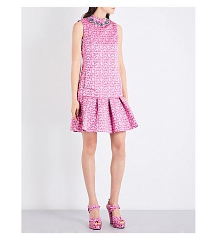 ERDEM Nena satin-jacquard mini dress (Pink/burgendy