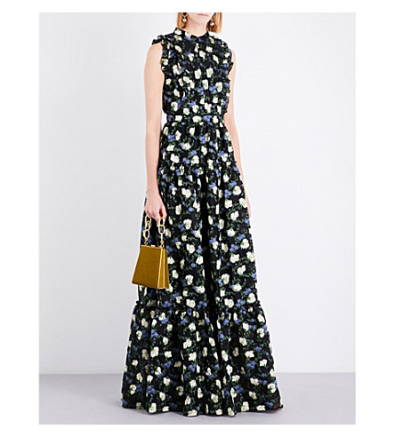 ERDEM Floral jacquard-print silk gown (Black/yellow