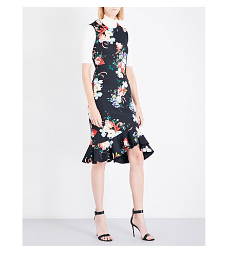ERDEM Floral-print neoprene-jersey dress (Black/multi