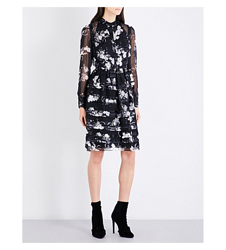 ERDEM Joan silk-chiffon dress (Black/ecru