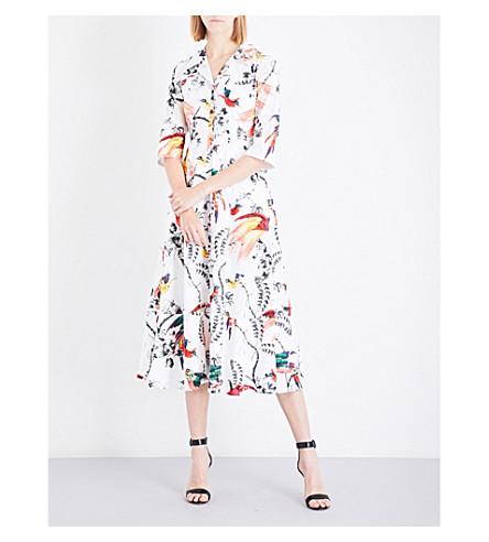ERDEM Paisley Parrot-print cotton-poplin dress (White/multi