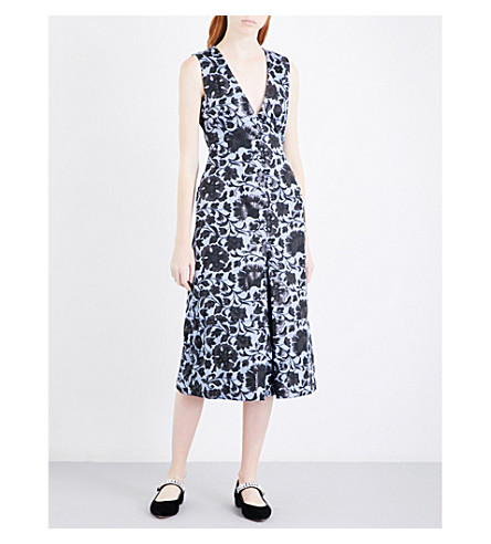 ERDEM Kamila floral jacquard dress (Blue/black