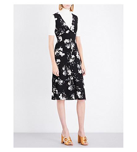 ERDEM Floral-patterned silk dress (Black/ecru