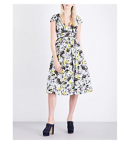 ERDEM Fabianna floral cotton and silk dress (Lemon+yellow/pale+blue