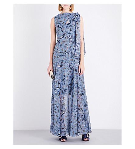 ERDEM Paisley Vine-print silk gown (Blue/pink