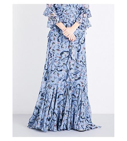 ERDEM Paisley Vine-print silk-voile maxi skirt (Blue/pink