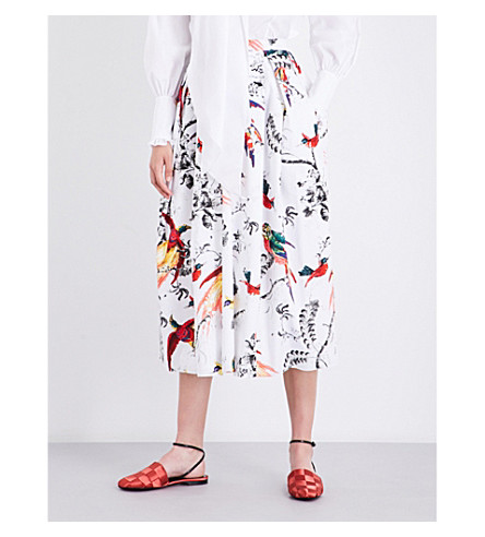 ERDEM Elena Paisley Parrot-print cotton-poplin midi skirt (White/multi