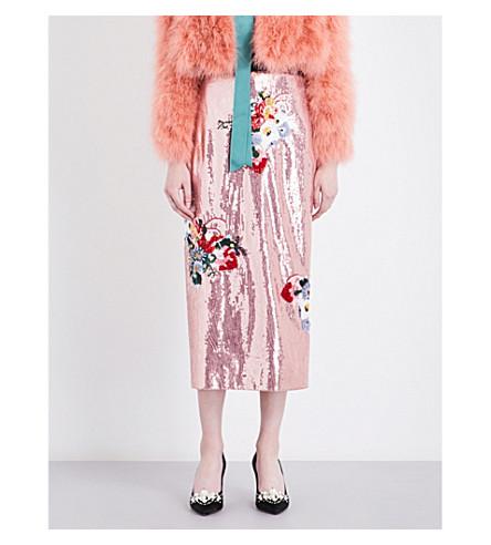 ERDEM Sacha sequinned skirt (Pink