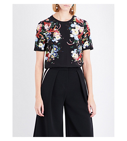 ERDEM Floral-print silk-crepe top (Black/multi