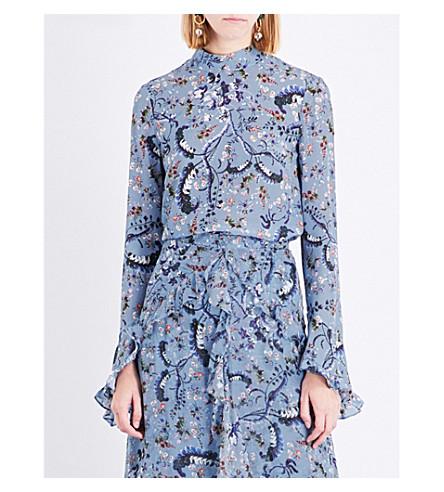 ERDEM Ruffled Paisley Vine-printed silk-crepe blouse (Blue/pink