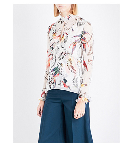 ERDEM Paisley Parrot-print silk-voile top (White/multi