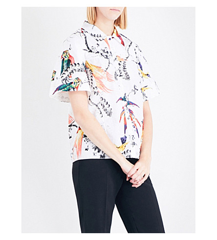 ERDEM Paisley Parrot-print cotton-poplin shirt (White/multi