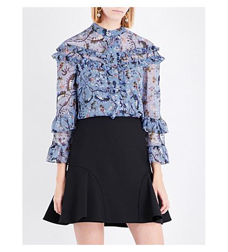 ERDEM Paisley Vine-print silk-crepe de chine blouse (Blue/pink