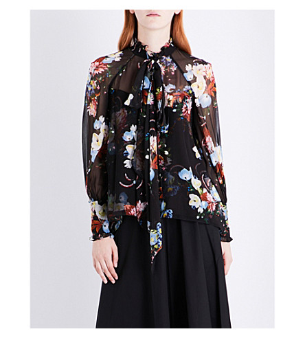 ERDEM Isabelle self-tie silk-voile top (Black/multi