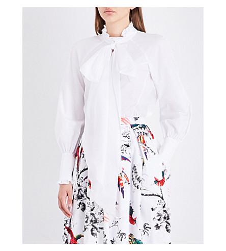ERDEM Pussybow cotton-poplin shirt (White