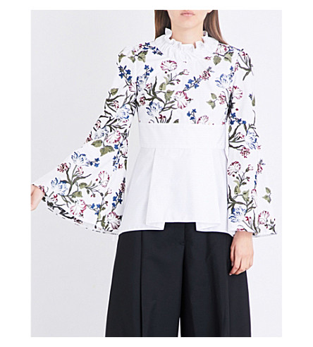 ERDEM Floral-embroidered cotton top (White/multi