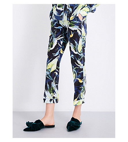 ERDEM Giulia relaxed-fit mid-rise silk-crepe de chine trousers (Black/yellow