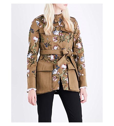 ERDEM Battista embroidered cotton jacket (Olive/multi