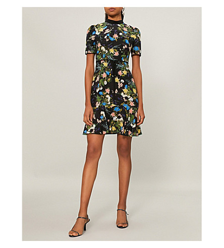 ERDEM Anne silk mini dress (Black/multi