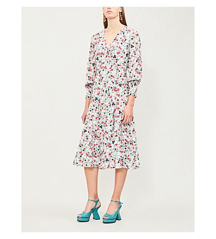 ERDEM Keiko floral-print silk-crepe midi dress (Pink multi
