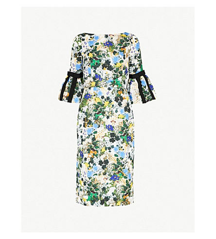 ERDEM Alexandra matelasse dress (White/blue