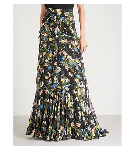 ERDEM Alison silk-voile maxi skirt (Black/multi
